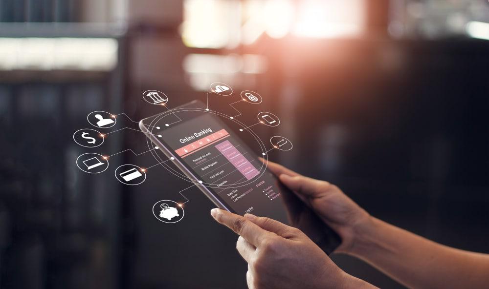 Banque en ligne sur une tablette