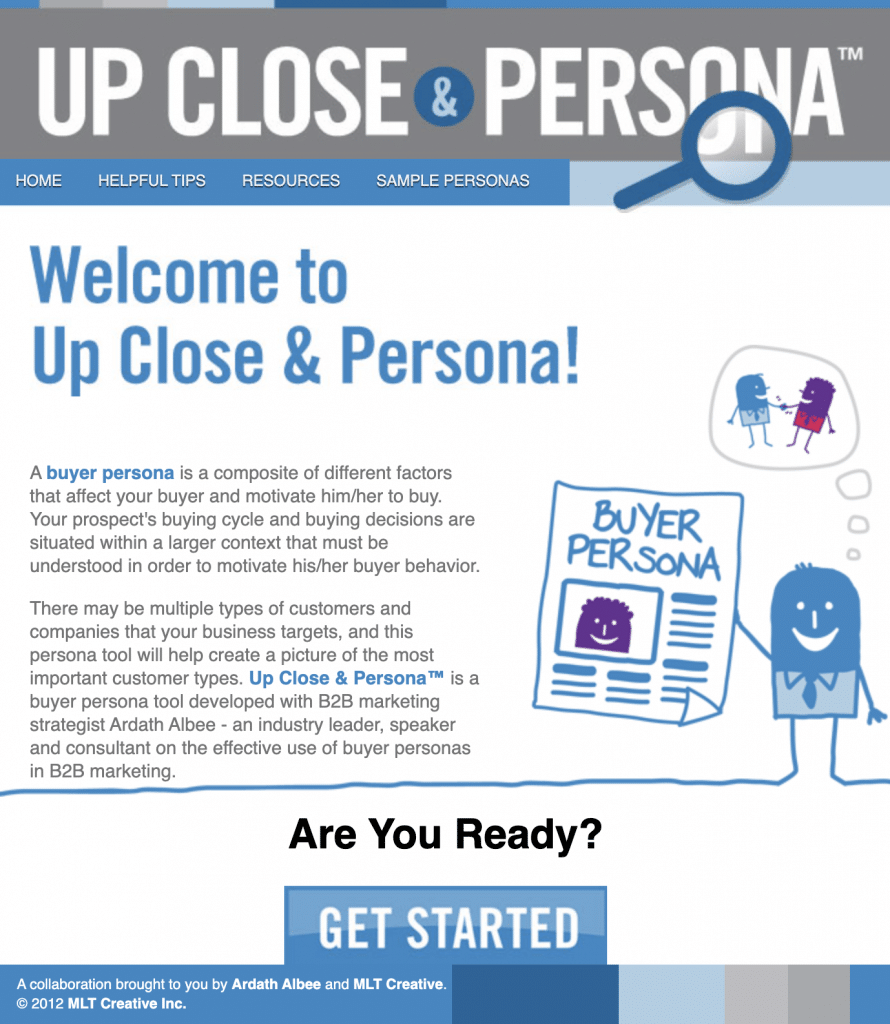 Interface outil marketing et UX - Up & close persona