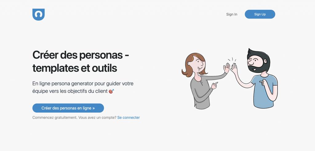 Interface web de l'outil marketing et UX - User Forge
