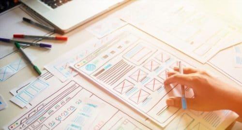 Concepteur de sites Web Élaboration d'applications de planification créative ébauche de dessin modèle de dessin cadre de conception filaire studio de conception . Concept d'expérience utilisateur .