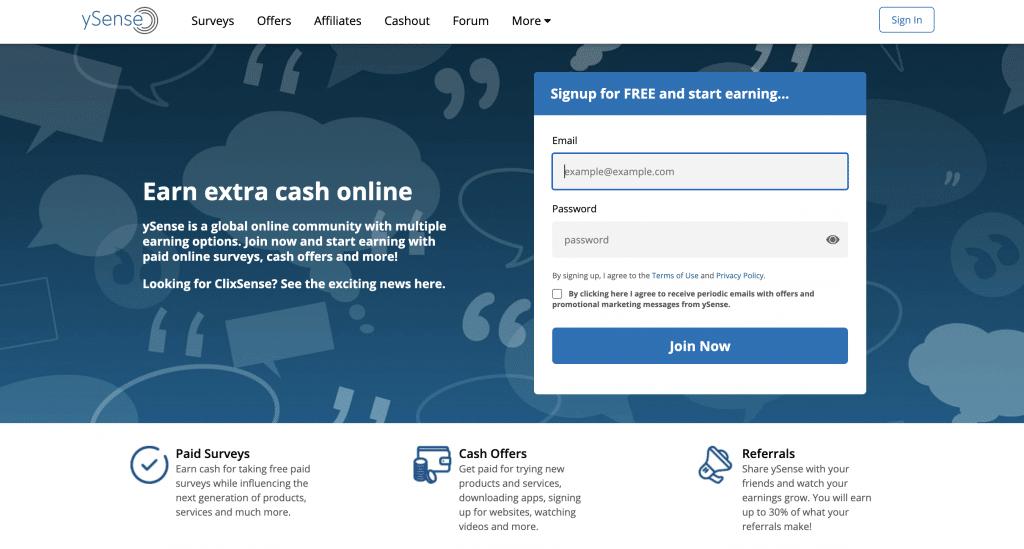 ySense gagner argent paypal